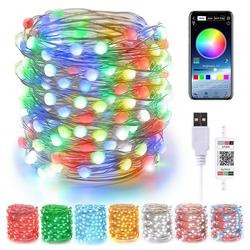 Rosnek LED-Lichterkette 5M/10M Smart Bluetooth RGB LED Lichterketten USB App Party Garten Christmas Decor 10 m