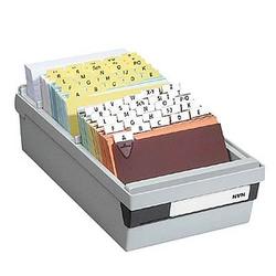 HAN   Karteikasten DIN A6   für 800 Karteikarten grau mit Deckel