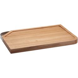 RÖSLE Schneidebrett, Holz, (1-St), mit Edelstahlgriff, für die Küche oder als Servierbrett, aus Ulmenholz 24 cm x 36 cm x 3 cm