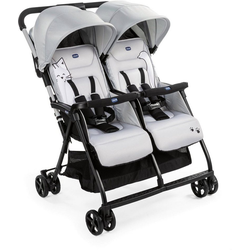 Chicco Zwillingsbuggy OHlalà Twin, Silver Cat, Zwillingskinderwagen; Kinderwagen für Zwillinge; Buggy für Zwillinge; Zwillingswagen