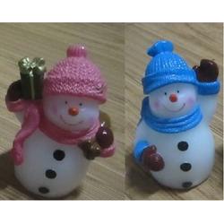 JOKA international LED-Kerze LED Kerze Schneemann Figuren 2er Set rot und blau 16168 (2 Stück), LED Kerze als Schneemänner