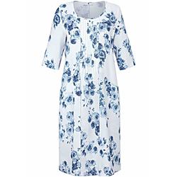 Abendkleid Kleid mit 3/4-Arm aus 100% Leinen Anna Aura weiß/blau