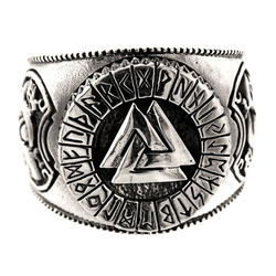 Kiss of Leather Silberring Ring Wotansknoten Valknut Wotan Knoten aus 925 Sterling Silber, Gr. 52-74 56