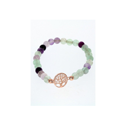 Adelia´s Armband Fluorit Armband - Baum des Lebens - 925 rosé Silber - 17 cm