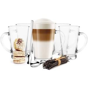 Sendez Latte-Macchiato-Glas 6 Latte Macchiato Gläser 300 ml mit Henkel und 6 Edelstahl-Löffel GRATIS, Glas