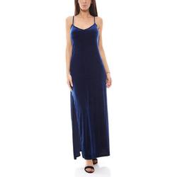 Funky Buddha Abendkleid FUNKY BUDDHA Abendkleid Maxi-Kleid elegantes Samt-Kleid mit Gehschlitz Party Navy M