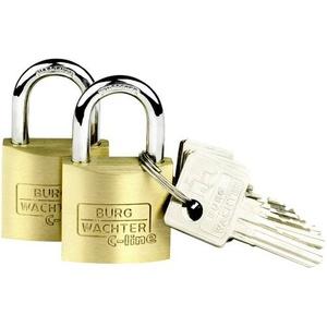 Burg Wächter 2er Set Duo 222 30 SB Vorhängeschloss gleichschließend Messing Schlüsselschloss