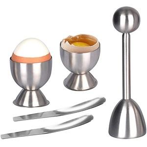 AMAYGA Eierköpfer Set,Edelstahl Eieröffner Eier Eierteiler Eierschneider,1x Eierköpfer 2X Eierbecher 2X Eier-Löffel für Weiches Gekochtes Ei zum Frühstück