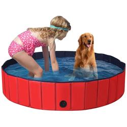 COSTWAY Badewanne Haustierpool Swimmingpool Hundebadewanne Pet Bath Pool rot 140 cm x 140 cm x 30 cm