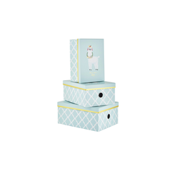 Aufbewahrungsboxen, 3er Set ¦ blau ¦ Metall, Papier ¦ Maße (cm): B: 28 H: 21,5 T: 12,5