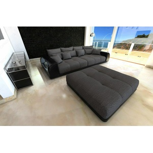 Bigsofa Stoff MIAMI Megasofa XXL Polsterstoff Hocker Sofa Couch LED Beleuchtung