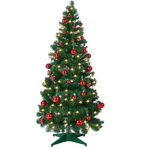Deuba Weihnachtsbaum 150 bis 180 cm Ständer LED Lichterkette Pop Up künstlicher Tannenbaum Christbaum Weihnachten Grün 150 cm