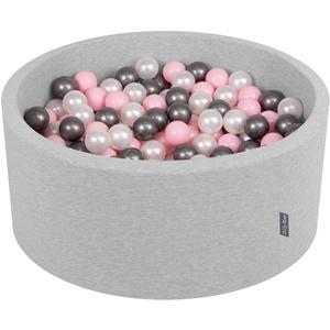 KiddyMoon Bällebad 90X40cm/200 Bälle ∅ 7Cm Bällepool Mit Bunten Bällen Für Babys Kinder Rund, Hellgrau:Perle/Rosa/Silbern