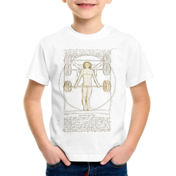 style3 Print-Shirt Kinder T-Shirt Vitruvianischer Mensch mit Langhantel kreuzheben fitnesstudio weiß 104