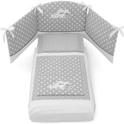 Erbesi Pisoloni White Grey Abnehmbares Kinderbett-Set