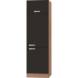 OPTIFIT Kühlumbauschrank Odense 60 cm breit, 207 cm hoch, geeignet für Einbaukühlschrank mit Nischenmaß 88 cm grau
