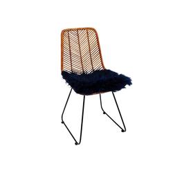KARE Dekokissen Sitzauflage Lammfell Blau 40x40