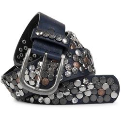 styleBREAKER Nietengürtel Gürtel mit Nieten und Strass Gürtel mit Nieten und Strass blau 80cm