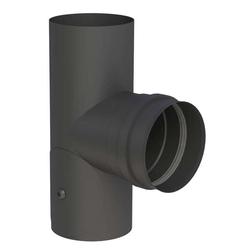 Ø 80 mm Pelletofenrohr T-Stück 90° mit Revisionsöffnung und Muffe Schw