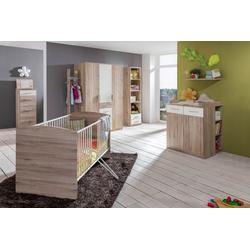 Babyzimmer 4-tlg. in San Remo Eiche NB mit Abs. in weiß, Babybett B: ca. 74 cm, Wickelkommode B: ca. 91 cm, Kleiderschrank B: ca. 135 cm