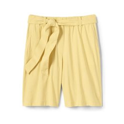 Leinen/Viskose-Shorts mit Bindegürtel, Damen, Größe: S Normal, Gelb, by Lands' End, Goldener Mais - S - Goldener Mais