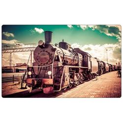 DesFoli Wandtattoo Fotografie Eisenbahn Lok Vintage R1771 bunt 90 cm x 58 cm