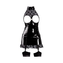 Kleid aus Lack und Spitze