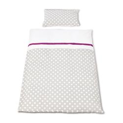 Pinolino Bett- und Kopfkissenbezug für Kinderbetten (Punkte grau)