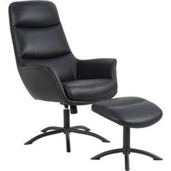 Dalle Sessel mit Hocker schwarz Fernsehsessel Relaxsessel Liegesessel Liegestuhl