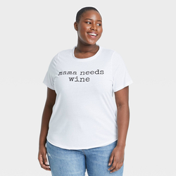 Women's Plus Size Mother's Day Mama Needs Wine Short Sleeve Graphic T-Shirt - White 1X