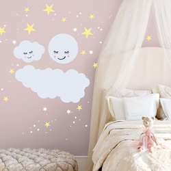 Wall-Art Wandtattoo Sterne Wolke Mond Leuchtsticker (1 Stück) 60 cm x 60 cm x 0,1 cm