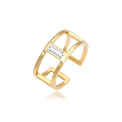 Elli Fingerring Offen Geo Kristall Rechteck 925 Silber, Kristall Ring goldfarben