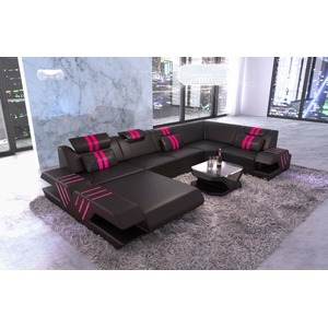 Ledersofa Couch modern VENEDIG U Form Wohnlandschaft Leder Ottomane LED schwarz