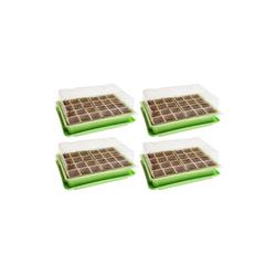 Wellgro Gewächshaus 4x Mini Gewächshaus - für bis zu 96 Pflanzen, ca. 27 x 19 x 10 cm (LxBxH) je Zimmergewächshaus - Anzuchtschale - Zellulose - Saatschale - Pflanzen Anzucht