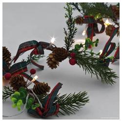 matches21 HOME & HOBBY LED-Lichterkette LED Minilichterkette Tannengrün dekorierte Mini Lichterkette warmweiß 140 cm, 10-flammig