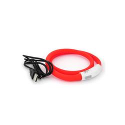 PRECORN Hunde-Halsband LED USB Halsband Hund Silikon Hundehalsband Leuchthalsband für Hunde aufladbar per USB (Größe S-L auf 18-65 cm individuell kürzbar), Silikon rot