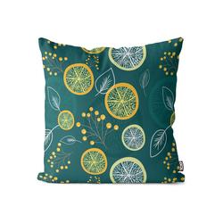 Kissenbezug, VOID (1 Stück), Zitronenblätter Früchte Kissenbezug Lemon Lime Zitrone Limette Vitamine Saft 40 cm x 40 cm