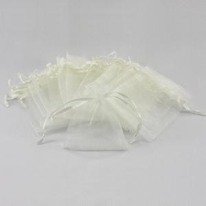 10 x Organzasäckchen Organzabeutel Schmuckbeutel Säckchen Organza - creme weiß
