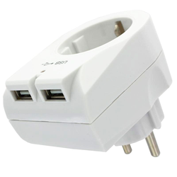 Eurostecker Steckdose mit 2fach USB Ausgang mit max. 2100mA USB-Ladestrom, weiß