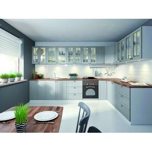 Küchenzeile / EINBAUKÜCHE L-Küche Linea  ERWEITERBAR KÜCHE MDF Grau / Weiß