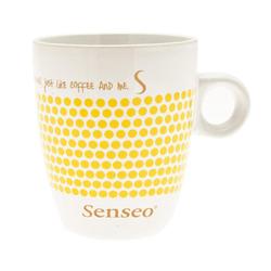 Senseo Becher Kaffeebecher mit Henkel, weiß - gelb, 160 ml