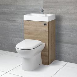 D-förmige Toilette mit Spülkasten und integriertem Waschbecken Eiche, von Hudson Reed