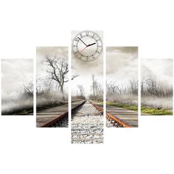 Conni Oberkircher´s Bild Stormy Rails, Eisenbahn (Set), mit dekorativer Uhr