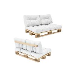 en.casa Palettenkissen, Telde Palettensofa Palettenmöbel inkl. Kissen Lehne und Palette in verschiedenen Farben weiß