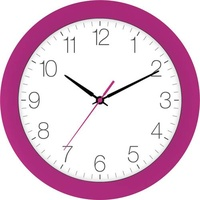 EUROTIME 88800-22-1 Quarz Wanduhr 30cm x 4.5cm Pink Schleichendes Uhrwerk (lautlos)