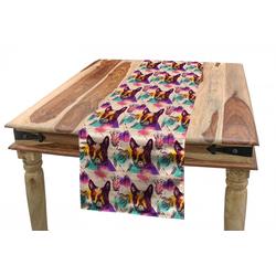 Abakuhaus Tischläufer Esszimmer Küche Rechteckiger Dekorativer Tischläufer, Hundeliebhaber Bunte Kristalle 40 cm x 300 cm