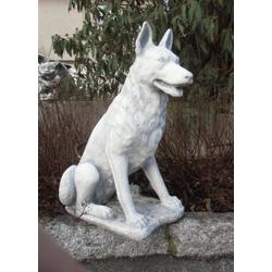 BAD-6233 Schäferhund Figur Hundefigur deutscher Schäfer Hundefigur als Gartendo Tierfigur 70cm 65kg (Farbe: weiss)