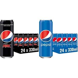 Pepsi Max, Das zuckerfreie Erfrischungsgetränk von Pepsi ohne Kalorien, Koffeinhaltige Cola in der Dose, 24 x 0,33l & Cola, Das Original von Pepsi, Koffeinhaltige Cola in der Dose, 24 x 0,33l
