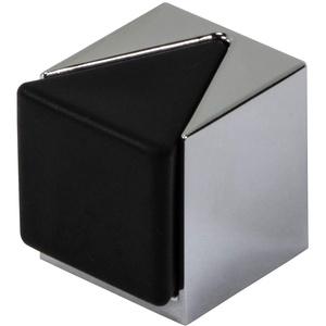 Gedotec Boden-Türpuffer verchromt Türstopper eckig - KIRA | Gummi-Puffer für Boden-Montage | Anschlagpuffer Metall zum Schauben oder Kleben | 1 Stück - Design Stopper Chrom mit Befestigungsmaterial