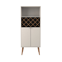 Utopia 10 Bottles Wine Rack China Storage Closet with 4 Shelves and Wooden Legs Maple Cream/Off White - Manhattan Comfort